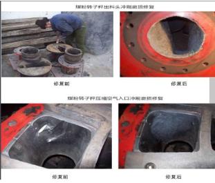 煤粉转子秤冲刷磨损怎么办?专用设备耐磨修复材料帮助你